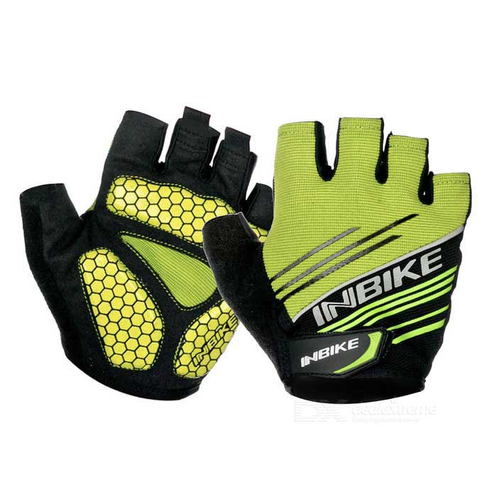 INBIKE Summer Half-Finger Cycling Gloves - Green + Black (XL / Pair)