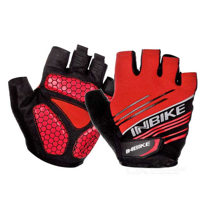 INBIKE Summer Half-Finger Cycling Gloves - Red + Black (XL / Pair)