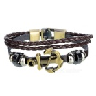Fashionable Leather + Alloy Multi-layer Bracelet - Brown + Bronze