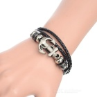 Fashionable Leather + Alloy Multi-layer Bracelet - Black + Bronze