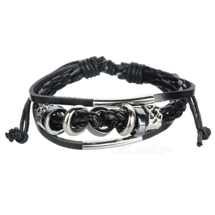 Fashionable Leather Multi-layer Bead Bracelet - Black + Silver
