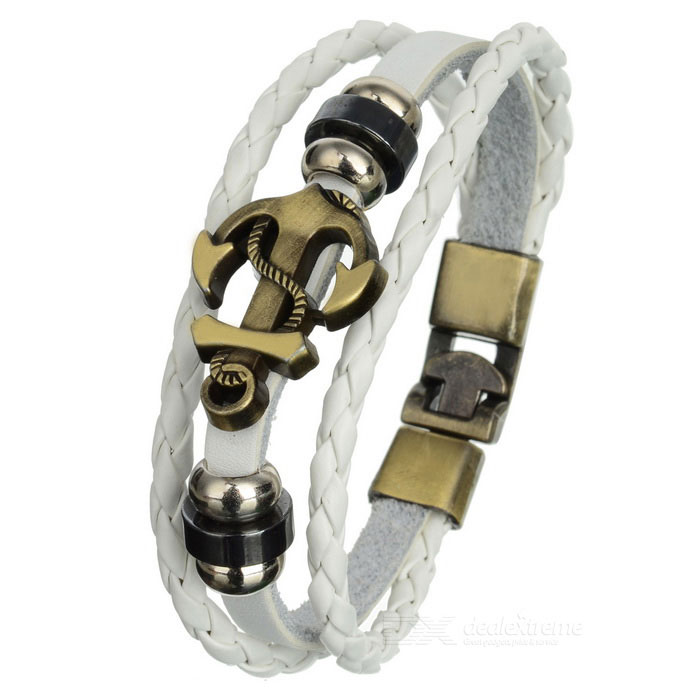 Fashionable Leather + Alloy Multi-layer Bracelet - White + Bronze