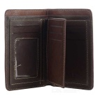 DBLO Men's Short Genuine Leather Wallet w/ Zippered Pocket - Coffee
