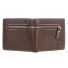 DBLO Men's Short Genuine Leather Wallet Purse - Deep Coffee