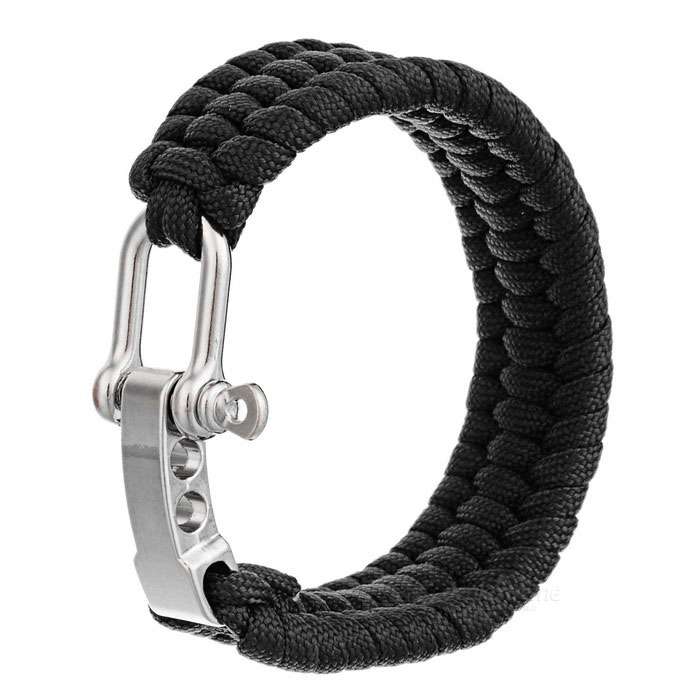 Outdoor Emergency & Survival Paracord Bracelet - Black