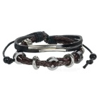 Fashionable Leather Multi-layer Bead Bracelet - Brown + Silver