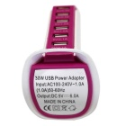 30W 6-USB 6A Sailboat Style Socket - Deep Pink + White (US Plugs)