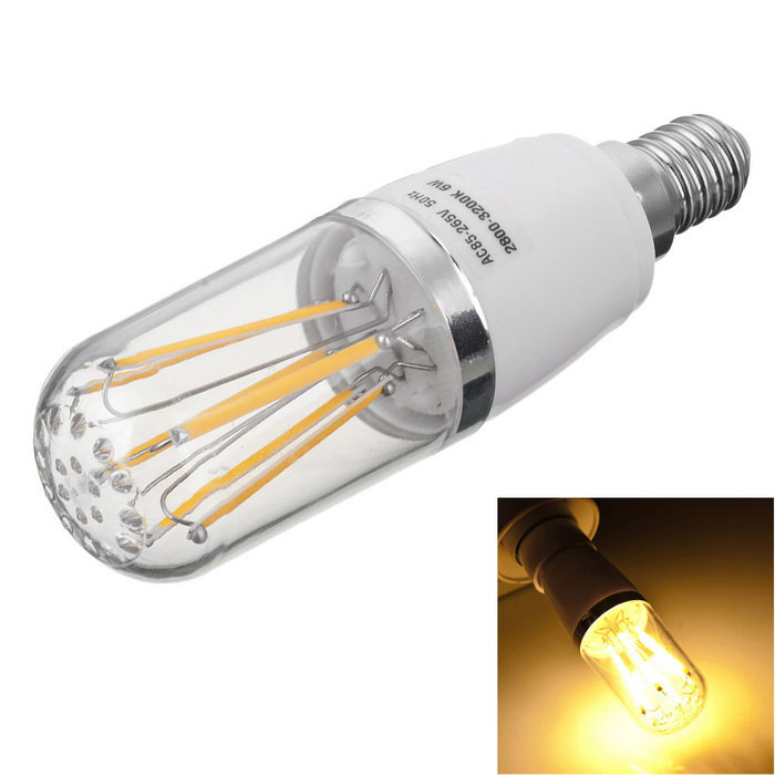 Marsing E14 6W 6-COB LED Warm White Light  Filament Bulb  (AC 85~265V)E14<br>Color BINWarm WhiteMaterialAluminum + PCForm  ColorWhite + Yellow + Multi-ColoredQuantity1 DX.PCM.Model.AttributeModel.UnitPower6WRated VoltageAC 85-265 DX.PCM.Model.AttributeModel.UnitConnector TypeE14Chip BrandEpistarEmitter TypeCOBTotal Emitters6Actual Lumens500-600 DX.PCM.Model.AttributeModel.UnitColor Temperature12000K,Others,2800-3200DimmableNoBeam Angle360 DX.PCM.Model.AttributeModel.UnitCertificationCE, RoHsPacking List1 * LED Bulb<br>