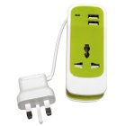 S15 3-in-1 Universal Socket - Green + White (UK Plug / 110~240V)