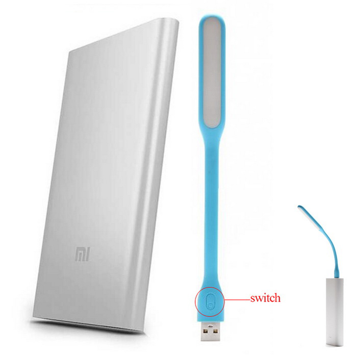 "Xiaomi ""5000mAh"" Power Bank + MI Enhanced LED Light - Silver + Blue"