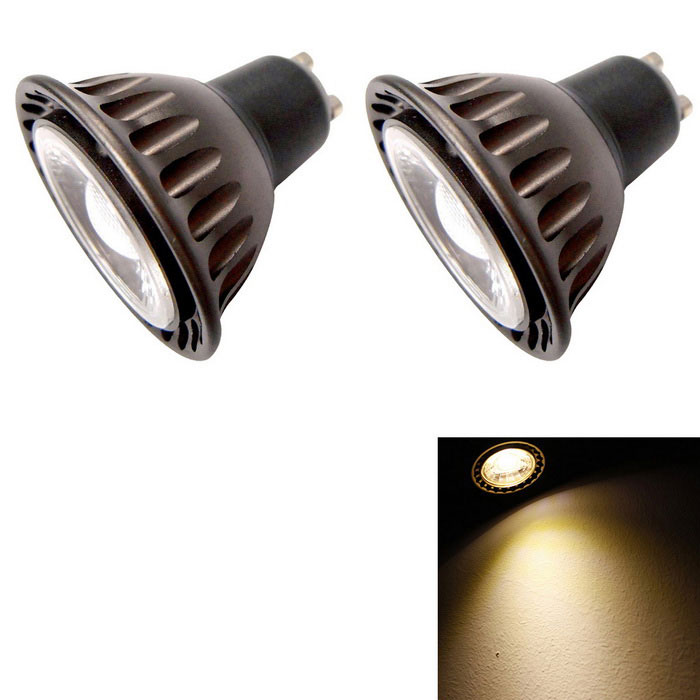 YouOKLight YK1666 GU10 3W Warm White LED Bulb - Black + Coffee (2PCS)