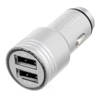2-in-1 Dual USB Car Charger / Metal Safety Hammer - Silver