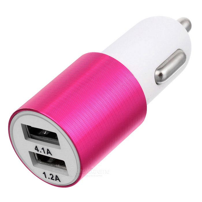 ZCHY-1285 4.1A Dual USB Car Charger - Pink + White