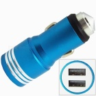 2-in-1 Dual USB Car Charger / Metal Safety Hammer - Blue + Silver