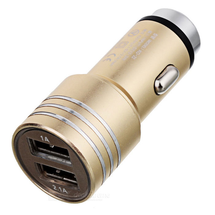 2-in-1 Dual USB -autolaturi / Metal Safety Hammer - Gold + Silver