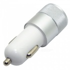 2.1A / 1A Dual USB Car Charger for Mobile / Table - Silver + White