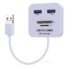 2-в-1 USB 2.0 + Micro USB OTG HUB / TF / SD Card Reader - белый