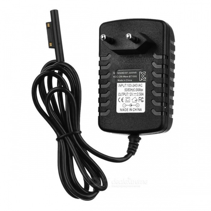 Magnetic EU Plug Power Adapter for Microsoft Tablet - Black