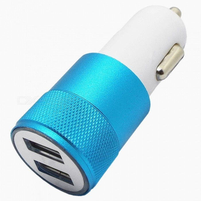 Chargeur allume-cigare double voiture USB 2.1A / 1A - Bleu + Blanc