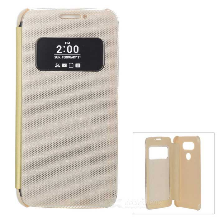 Flip-Open Smart Case w/ View Window for LG G5 - GoldenPlastic Cases<br>Form  ColorGoldenModel-MaterialABSQuantity1 DX.PCM.Model.AttributeModel.UnitShade Of ColorGoldCompatible ModelsLG G5Packing List1 * Case<br>