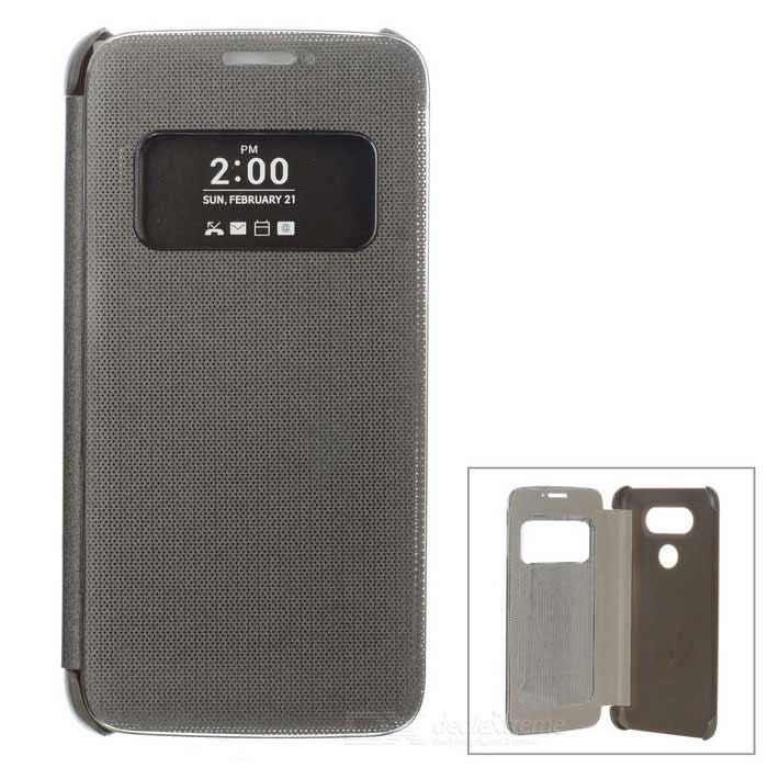 Flip-Open Smart Case w/ View Window for LG G5 - Silver Grey