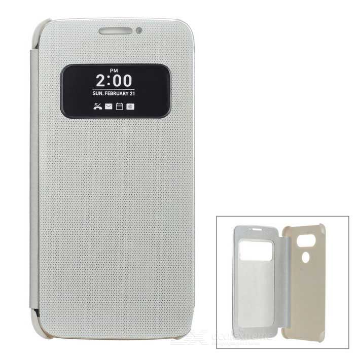 Flip-Open Smart Case w / View Window para LG G5 - Prata + Branco