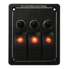 Waterproof 3 Gang Aluminium LED Rocker Switch Panel w / Overload Protection
