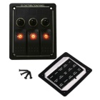 IZTOSS 3 Gang Aluminum LED Rocker Switch Panel - черный