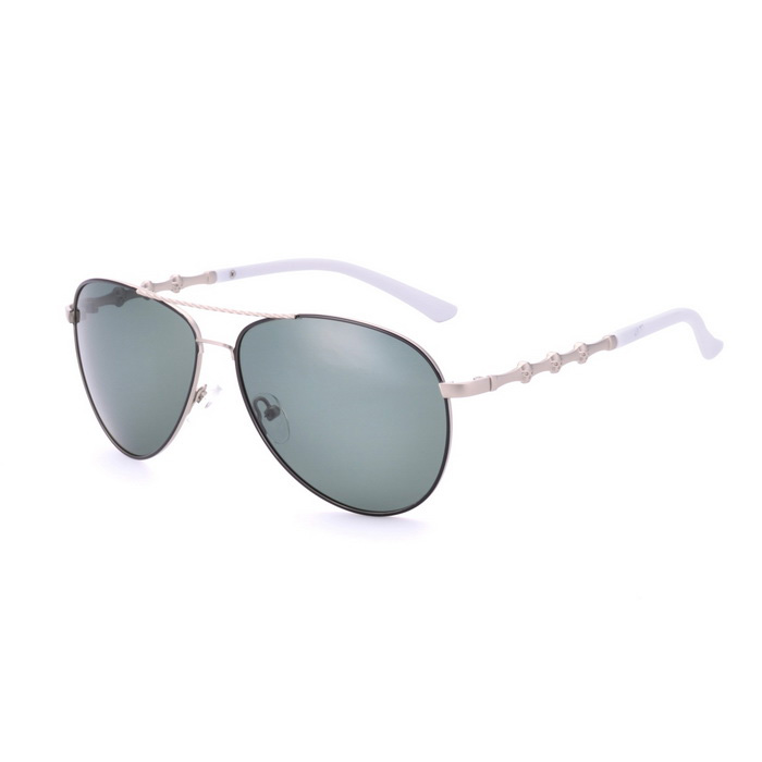 SENLAN 5050P3 Polarized Sunglasses - Silver Frame + Dark Green Lens