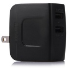 Universal 2 USB Ports 5V 2.4A/1A Power Adapter for Laptop / Tablet PC - Black