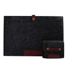"Wool Felt Inner Bag + Accessory Bag Set for MACBOOK PRO 15"" - Black"