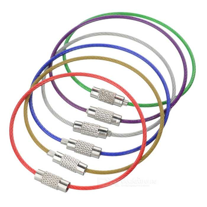 Steel Wire Circle Keychain Set - Multicolor (6PCS)