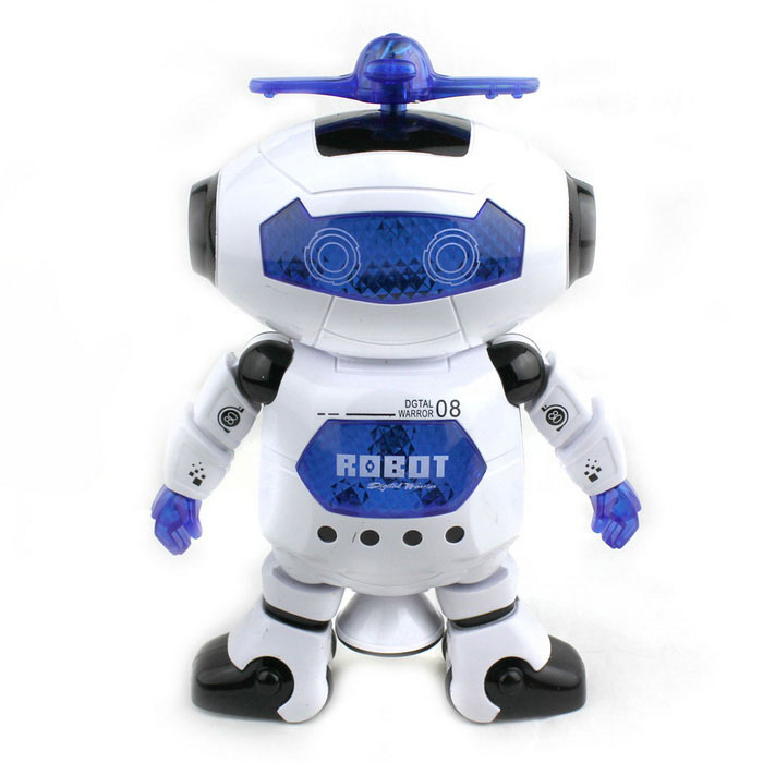Electric Dancing Robot 360' Rotating Light Music Toy - White + Blue