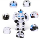 Walking Swing Lighting Music Electric Robot Toys - White + Black