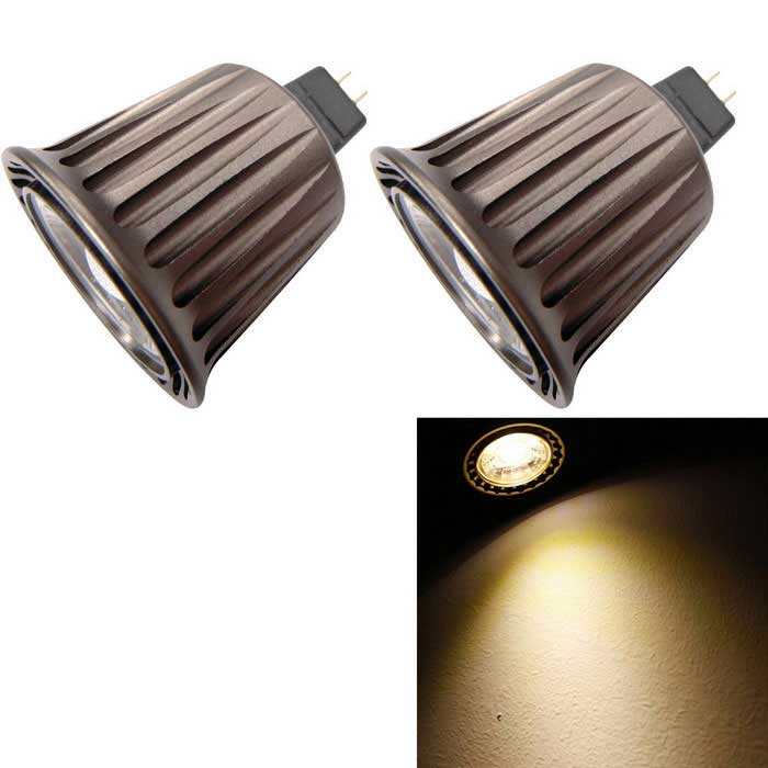 YouOKLight MR16 5W branco quente COB LED Spotlight (AC / DC 12V / 2PCS)
