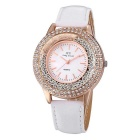 JIANGYUYAN 274302 Women's PU Strap Analog Quartz Watch - White