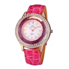 JIANGYUYAN 274303 Women's PU Strap Analog Quartz Watch - Deep Pink