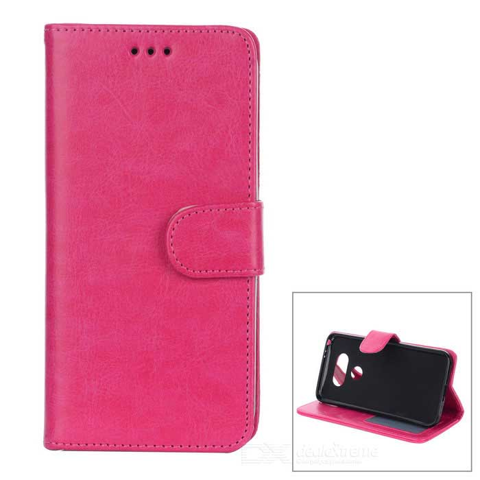 PU Leather Flip-Open Case with Card Slot for LG G5 - Deep Pink