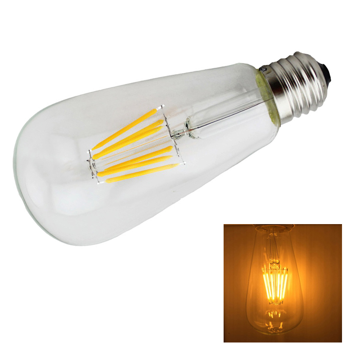 LED E27 6W Warm White 6-LED Filament Bulb - Transparent (AC 85V~265V)
