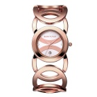 JIANGYUYAN 380803 Hollow Bangle Quartz Wristwatch - Rose Gold + White