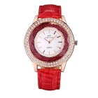 JIANGYUYAN 274305 Women's PU Strap Analog Quartz Watch - Red