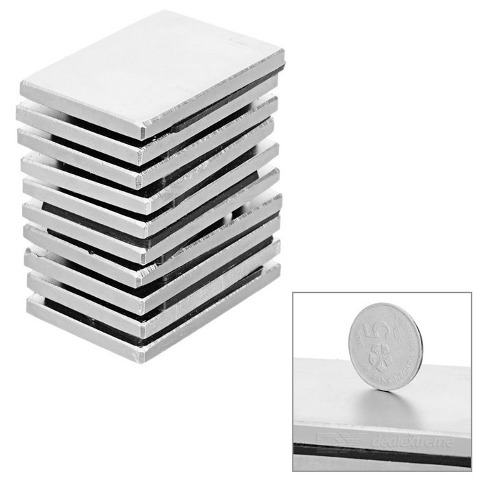 60*40*5mm Rectangular Rare Earth NdFeB Magnet -Silver (10 PCS)