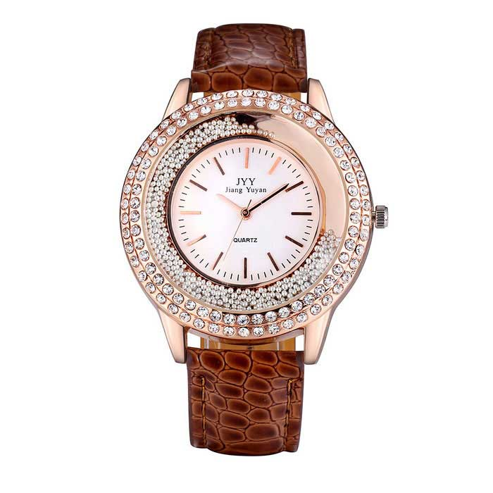 JIANGYUYAN 274307 Womens PU Strap Analog Quartz Watch - BrownQuartz Watches<br>Form  ColorBrownModel274307Quantity1 DX.PCM.Model.AttributeModel.UnitShade Of ColorBrownCasing MaterialAlloyWristband MaterialPU strapSuitable forAdultsGenderWomenStyleWrist WatchTypeFashion watchesDisplayAnalogMovementQuartzDisplay Format12 hour formatWater ResistantFor daily wear. Suitable for everyday use. Wearable while water is being splashed but not under any pressure.Dial Diameter4.34 DX.PCM.Model.AttributeModel.UnitDial Thickness1.14 DX.PCM.Model.AttributeModel.UnitWristband Length24.5 DX.PCM.Model.AttributeModel.UnitBand Width1.9 DX.PCM.Model.AttributeModel.UnitBattery1 * S377Packing List1 * Watch<br>