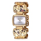 WeiQin Square Dial Leopard Grain Bracelet Quartz Watch - Gold + White
