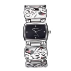 WeiQin Square Dial Leopard Grain Bracelet Quartz Watch - Black +Silver
