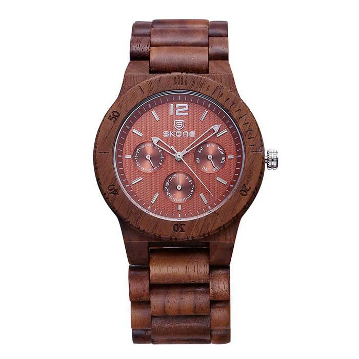 SKONE 391601 Men's Analog Quartz Wood Watch - Walnut