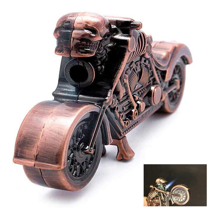 SYS0110 Racing Motorcycle Refillable Butane Gas Lighter - Brown