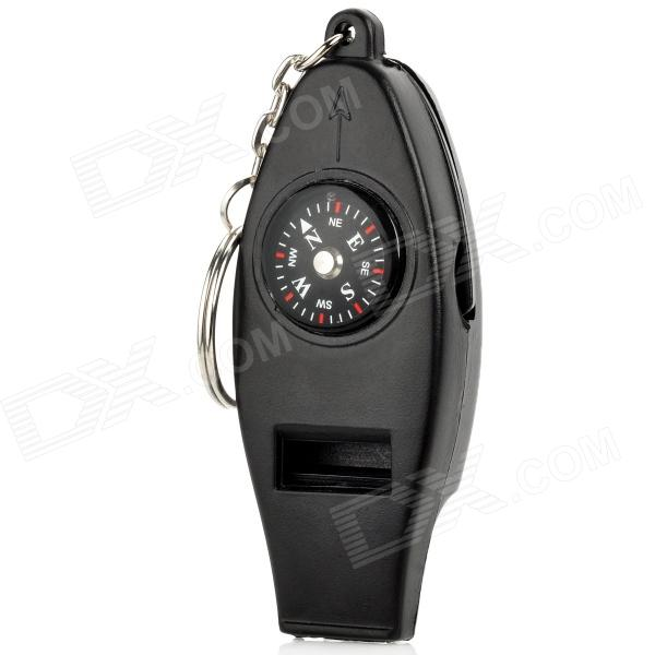 Survival Whistle with Compass Thermometer and Magnifier (OEM) - Black