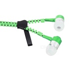 Metal Zipper Style 3.5mm Stereo Music Earphones with Mic - Green