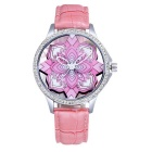 SKONE Stereoscopic Hollow Flower Dial PU Band Watch - Pink